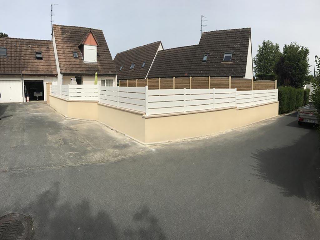maçonnerie paysagère à Caen (Calvados -14) - création d'un muret