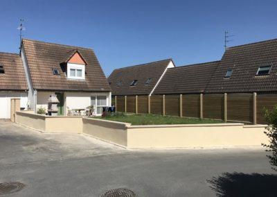 installation, pose de clôtures sur muret à Caen (Calvados-14) - Création du muret